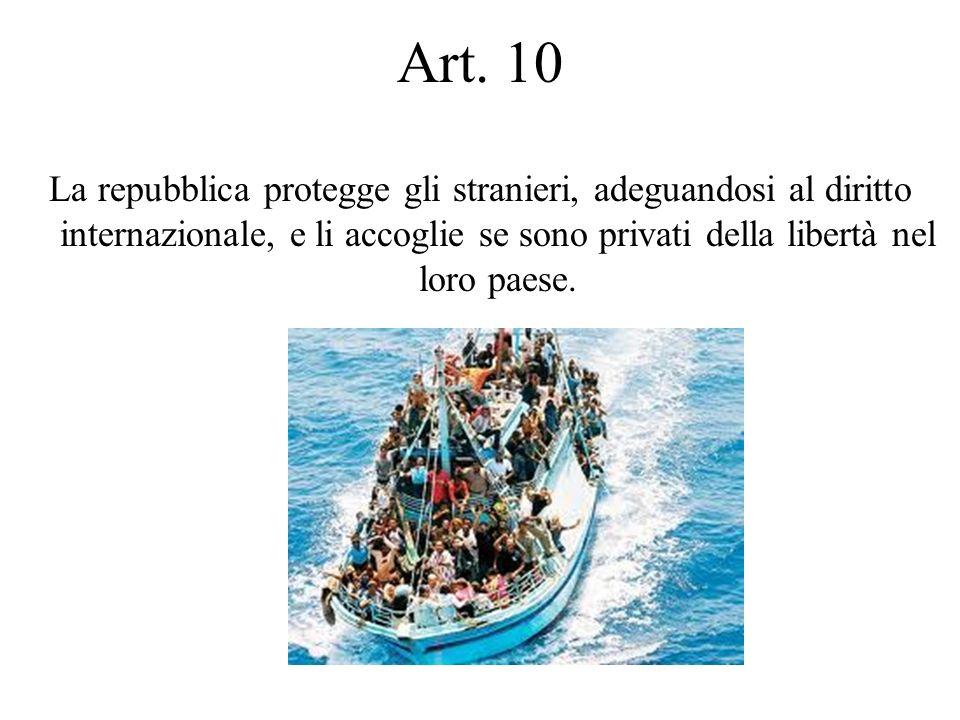 La repubblica protegge gli stranieri, adeguandosi al diritto internazionale, e li accoglie se sono privati della libertà nel loro paese. Art. 10