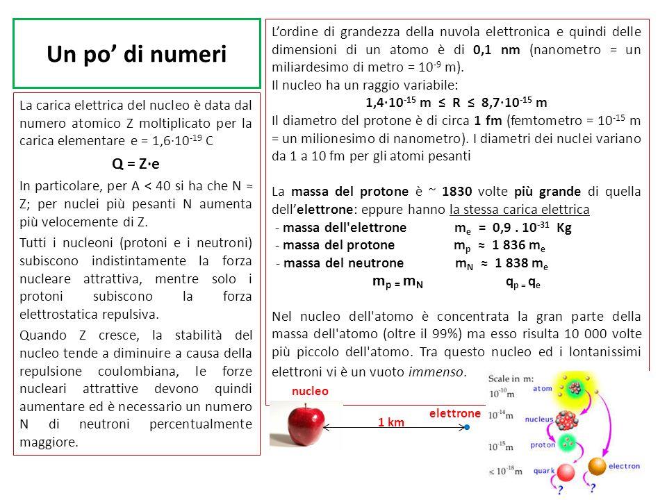 Un po di numeri La carica elettrica del nucleo è data dal numero atomico Z moltiplicato per la carica elementare e = 1,610 -19 C Q = Ze In particolare