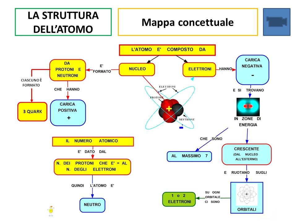 LA STRUTTURA DELLATOMO Mappa concettuale 3 QUARK CIASCUNO È FORMATO