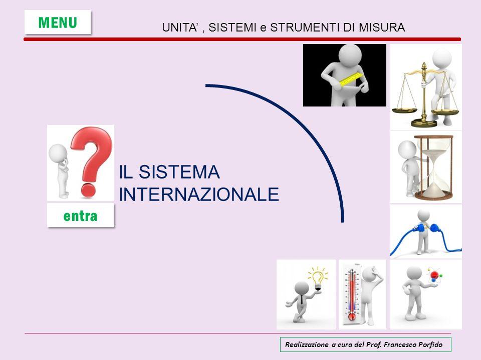 UNITA, SISTEMI e STRUMENTI DI MISURA IL SISTEMA INTERNAZIONALE MENU entra Realizzazione a cura del Prof. Francesco Porfido