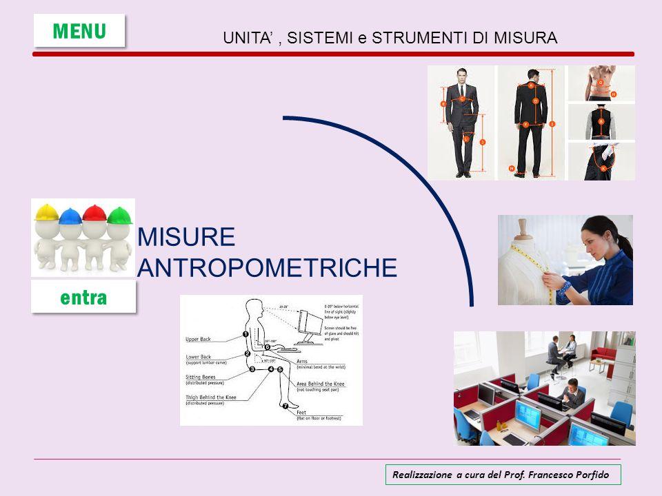 UNITA, SISTEMI e STRUMENTI DI MISURA MISURE ANTROPOMETRICHE MENU entra Realizzazione a cura del Prof. Francesco Porfido