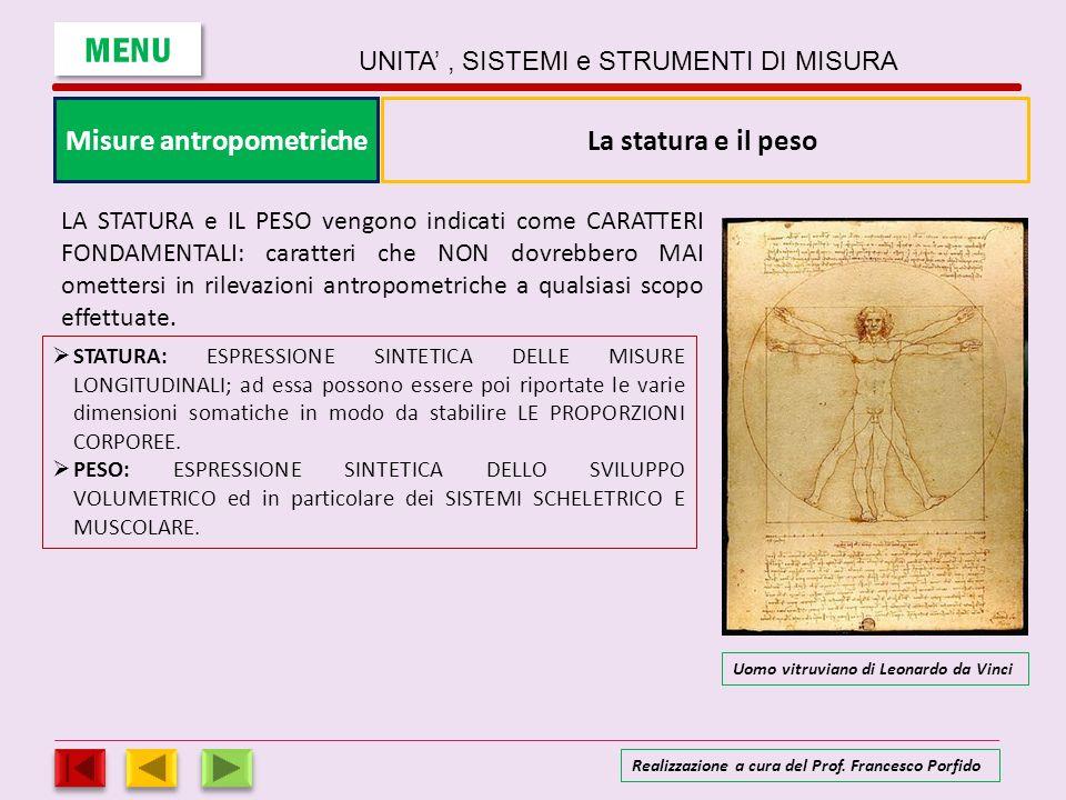 Misure antropometriche MENU UNITA, SISTEMI e STRUMENTI DI MISURA Realizzazione a cura del Prof. Francesco Porfido LA STATURA e IL PESO vengono indicat