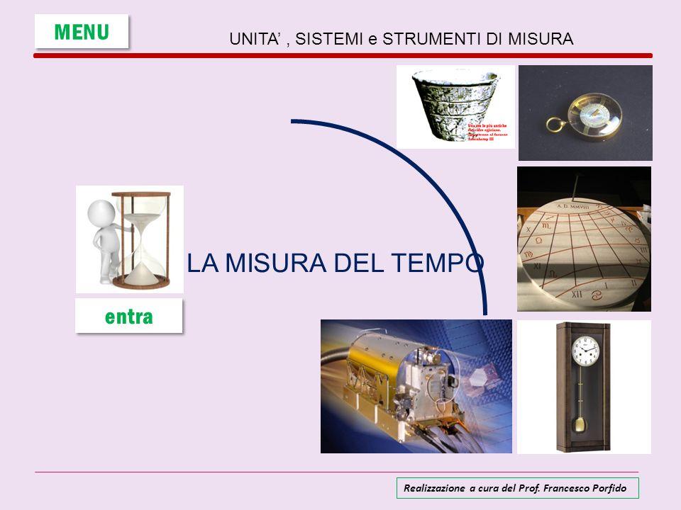 UNITA, SISTEMI e STRUMENTI DI MISURA LA MISURA DEL TEMPO MENU entra Realizzazione a cura del Prof. Francesco Porfido