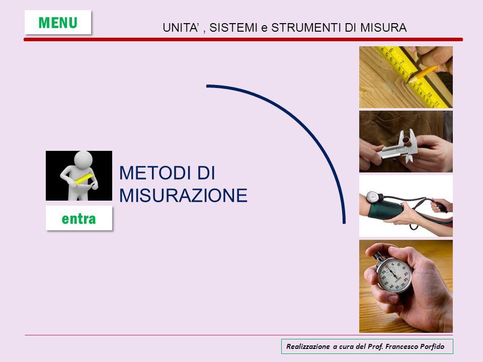 Per trovare la misura di una grandezza si possono seguire metodi diversi: 1) MISURA DIRETTA 2) MISURA INDIRETTA 3) MISURA CON STRUMENTI TARATI MENU UNITA, SISTEMI e STRUMENTI DI MISURA Realizzazione a cura del Prof.
