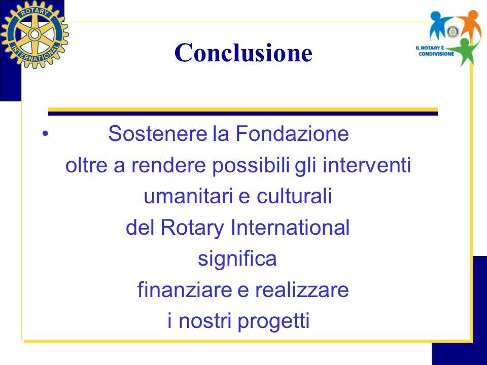 Conclusione Sostenere la Fondazione oltre a rendere possibili gli interventi umanitari e culturali del Rotary International significa finanziare e realizzare i nostri progetti