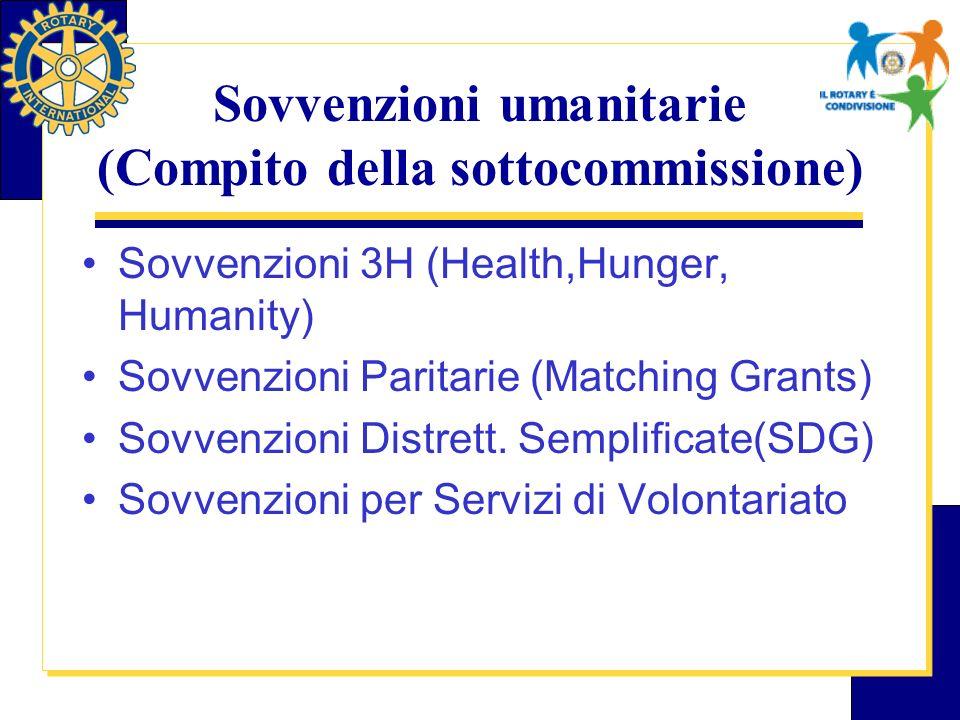 Sovvenzioni umanitarie (Compito della sottocommissione) Sovvenzioni 3H (Health,Hunger, Humanity) Sovvenzioni Paritarie (Matching Grants) Sovvenzioni Distrett.