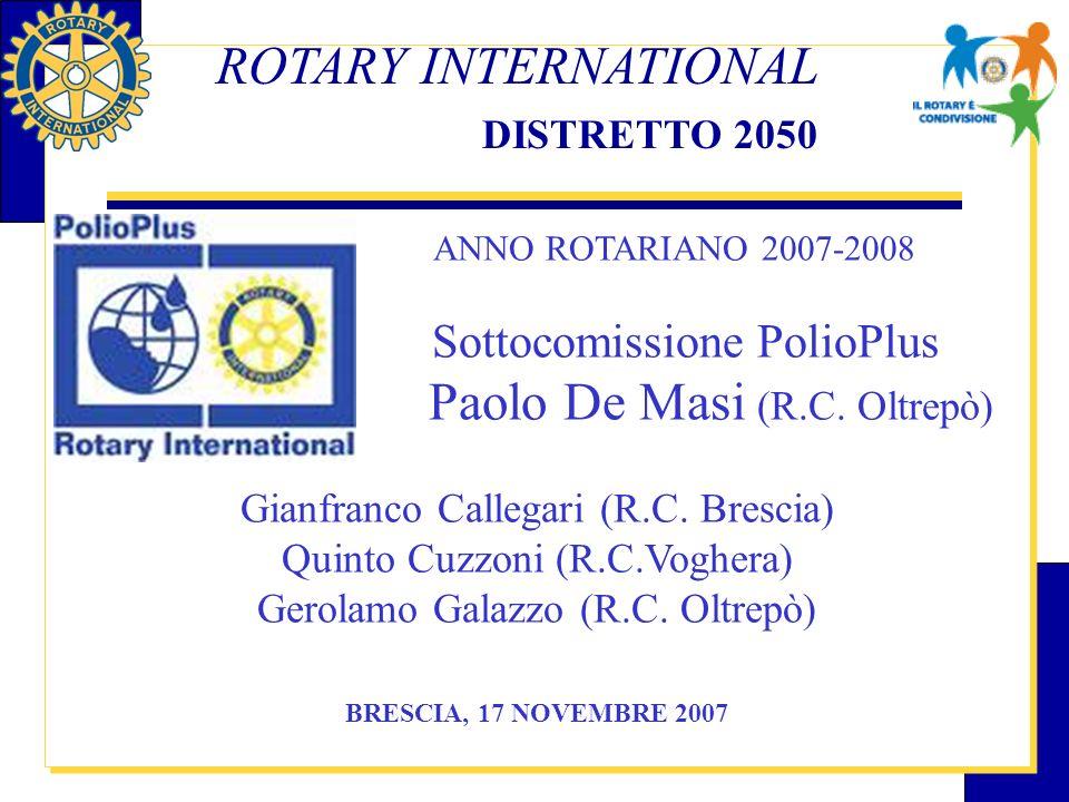 Programma POLIO PLUS La nostra lotta, su scala mondiale, contro la poliomielite Nel 1985 nasce il programma Polio Plus, lanciato a livello mondiale dal Rotary International, una delle iniziative umanitarie più ambiziose portate avanti da unorganizzazione non governativa con priorità elevata fino alla completa eradicazione.