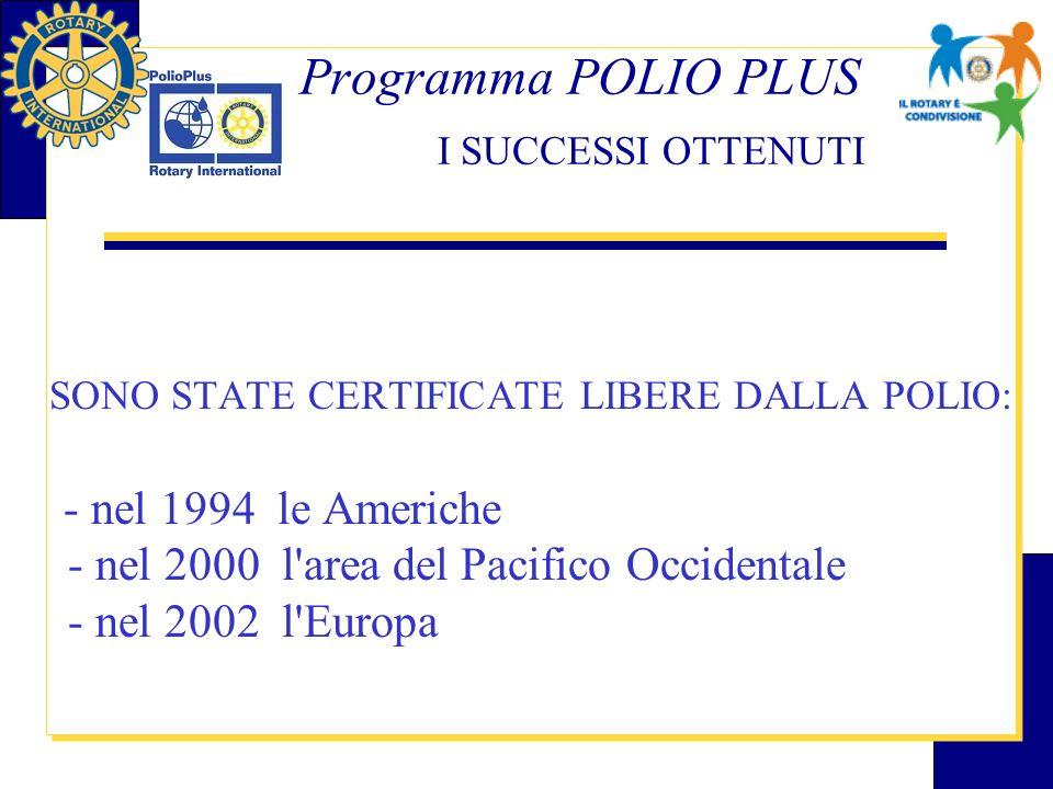 Programma POLIO PLUS I SUCCESSI OTTENUTI SONO STATE CERTIFICATE LIBERE DALLA POLIO: - nel 1994 le Americhe - nel 2000 l'area del Pacifico Occidentale