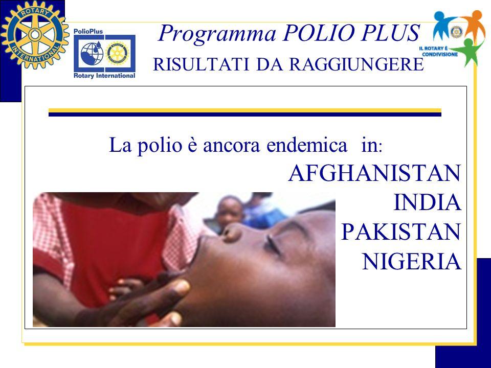 Programma POLIO PLUS RISULTATI DA RAGGIUNGERE La polio è ancora endemica in : AFGHANISTAN INDIA PAKISTAN NIGERIA