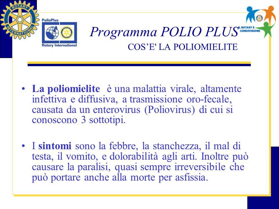 Programma POLIO PLUS COSE LA POLIOMIELITE La malattia colpisce nel 95% dei casi i bambini con meno di 10 anni di età La mortalità è del 5-10%.