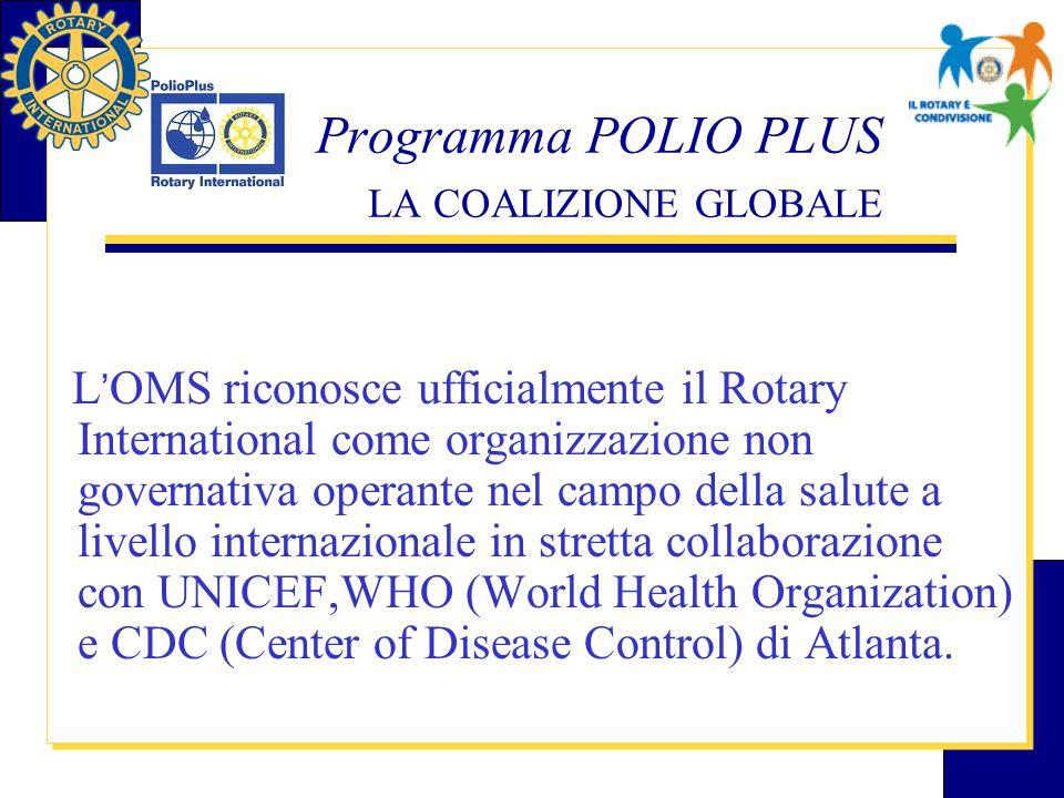 Programma POLIO PLUS RACCOLTA FONDI Oltre 2,5 miliardi di bambini, dal 1985, sono stati vaccinati; 210 i paesi in cui è stata debellata; impegno finanziario dal 1985 ad oggi ammonta a oltre 595 milioni di USD.