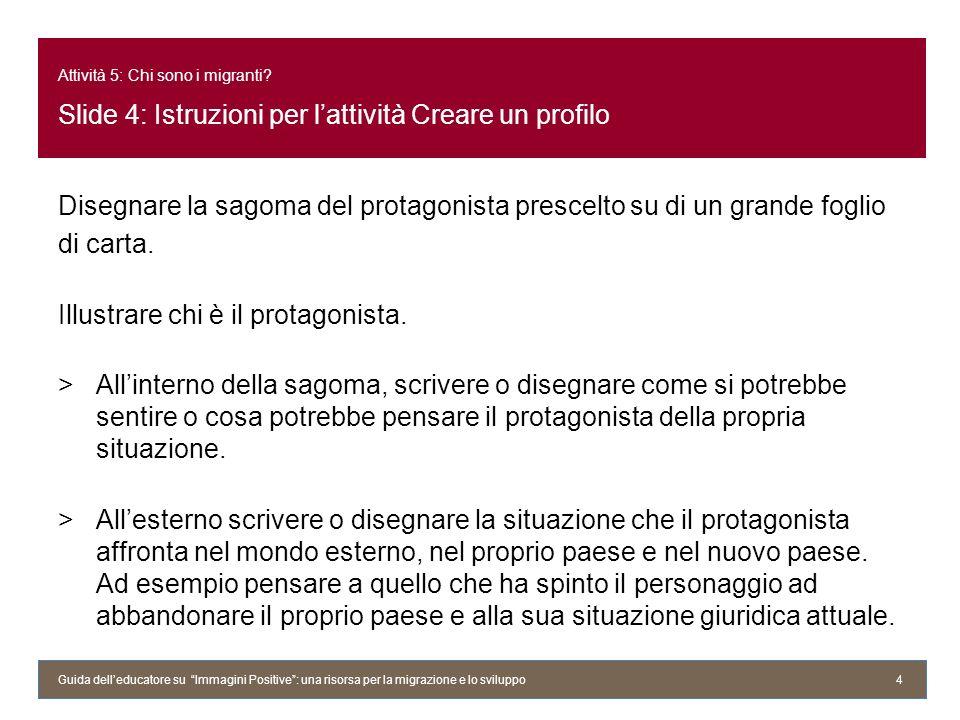 Attività 5: Chi sono i migranti? Slide 4: Istruzioni per lattività Creare un profilo Disegnare la sagoma del protagonista prescelto su di un grande fo
