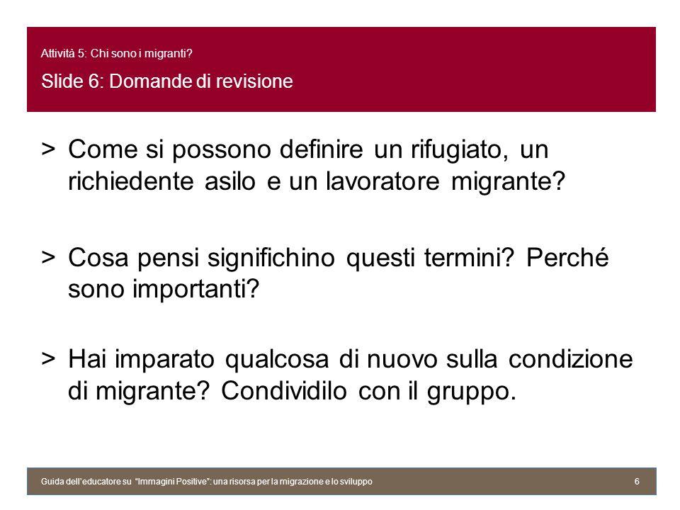 Attività 5: Chi sono i migranti.Slide 7: Una poesia >Cosa pensa lautore della propria identità.