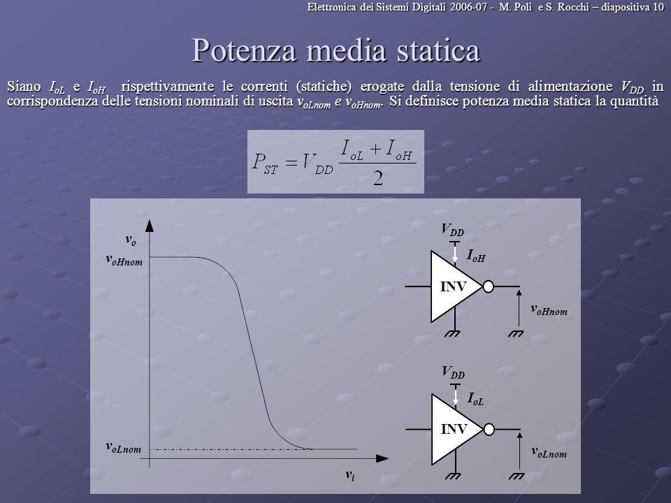 Elettronica dei Sistemi Digitali 2006-07 - M. Poli e S. Rocchi – diapositiva 10 Potenza media statica Siano I oL e I oH rispettivamente le correnti (s