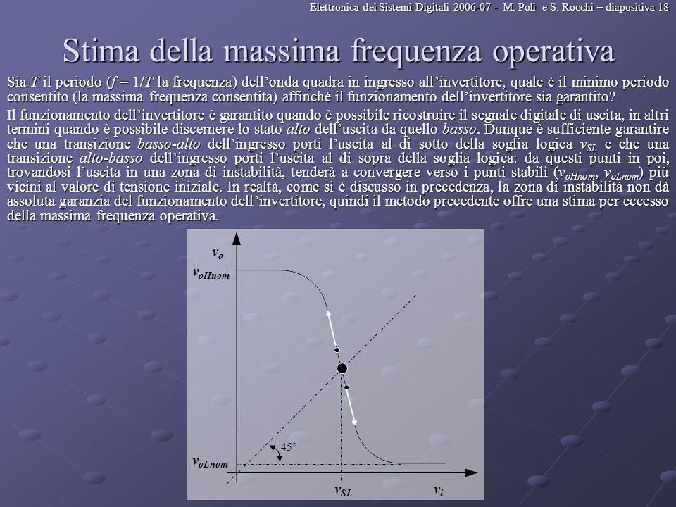 Elettronica dei Sistemi Digitali 2006-07 - M. Poli e S. Rocchi – diapositiva 18 Stima della massima frequenza operativa Sia T il periodo (f = 1/T la f