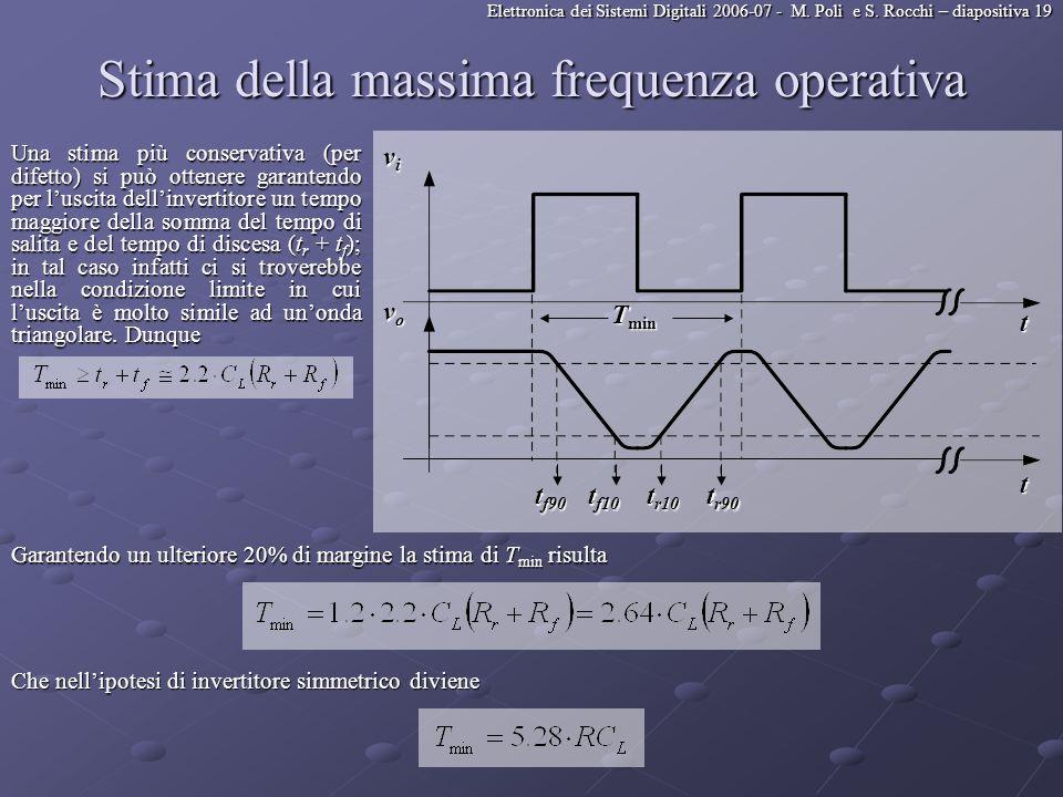 Elettronica dei Sistemi Digitali 2006-07 - M. Poli e S. Rocchi – diapositiva 19 Stima della massima frequenza operativa Una stima più conservativa (pe