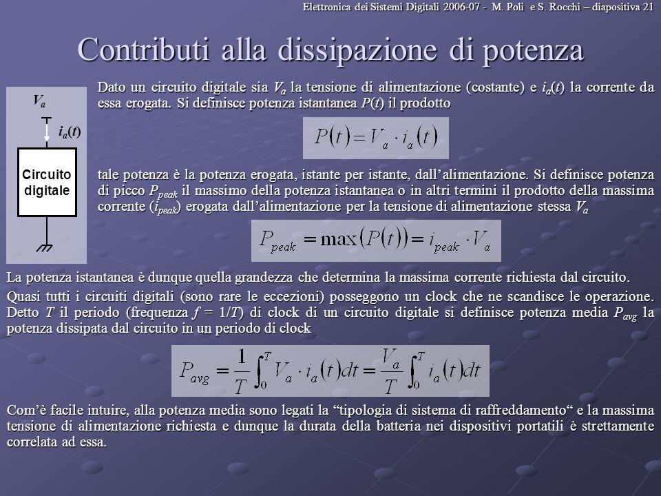 Elettronica dei Sistemi Digitali 2006-07 - M. Poli e S. Rocchi – diapositiva 21 Contributi alla dissipazione di potenza Dato un circuito digitale sia
