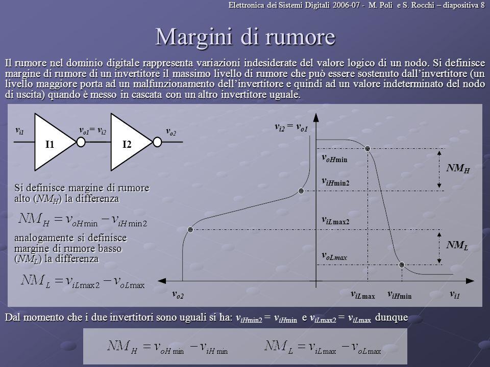 Elettronica dei Sistemi Digitali 2006-07 - M. Poli e S. Rocchi – diapositiva 8 Margini di rumore Il rumore nel dominio digitale rappresenta variazioni