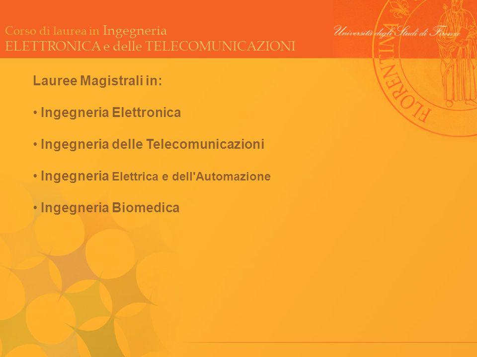 Corso di laurea in Ingegneria ELETTRONICA e delle TELECOMUNICAZIONI Lauree Magistrali in: Ingegneria Elettronica Ingegneria delle Telecomunicazioni In