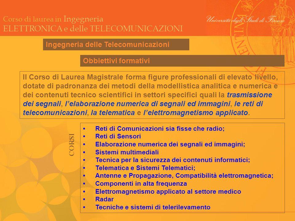 Corso di laurea in Ingegneria ELETTRONICA e delle TELECOMUNICAZIONI Ingegneria delle Telecomunicazioni Reti di Comunicazioni sia fisse che radio; Reti