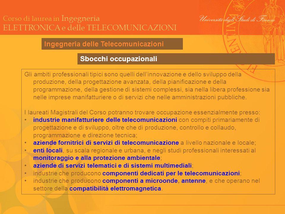 Corso di laurea in Ingegneria ELETTRONICA e delle TELECOMUNICAZIONI Sbocchi occupazionali Gli ambiti professionali tipici sono quelli dellinnovazione