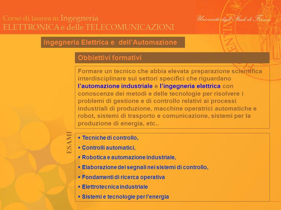 Corso di laurea in Ingegneria ELETTRONICA e delle TELECOMUNICAZIONI Ingegneria Elettrica e dellAutomazione Tecniche di controllo, Controlli automatici