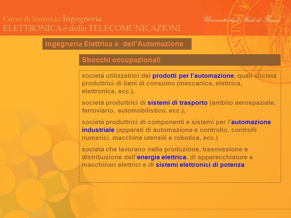 Corso di laurea in Ingegneria ELETTRONICA e delle TELECOMUNICAZIONI Ingegneria Automatica Sbocchi occupazionali società utilizzatrici dei prodotti per