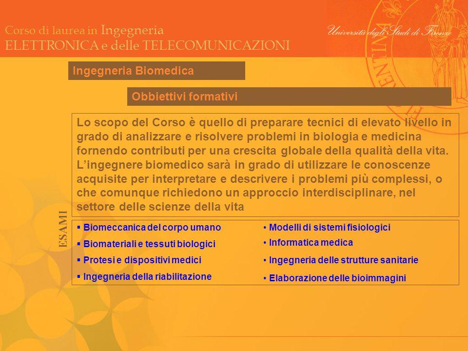 Corso di laurea in Ingegneria ELETTRONICA e delle TELECOMUNICAZIONI Ingegneria Biomedica Biomeccanica del corpo umano Biomateriali e tessuti biologici