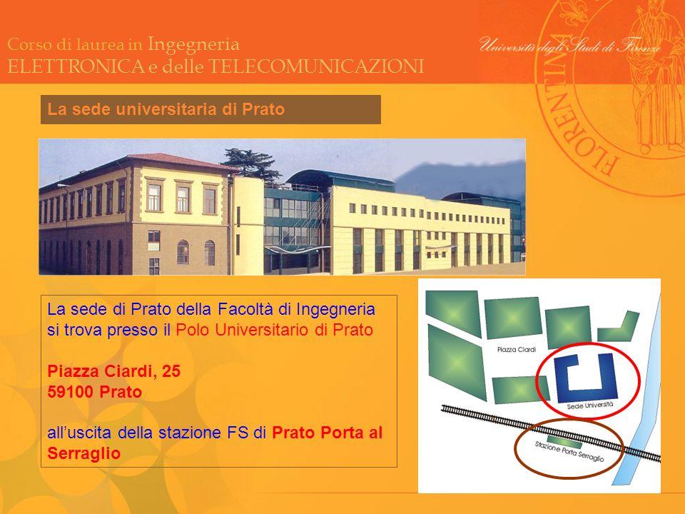 Corso di laurea in Ingegneria ELETTRONICA e delle TELECOMUNICAZIONI La sede universitaria di Prato La sede di Prato della Facoltà di Ingegneria si tro