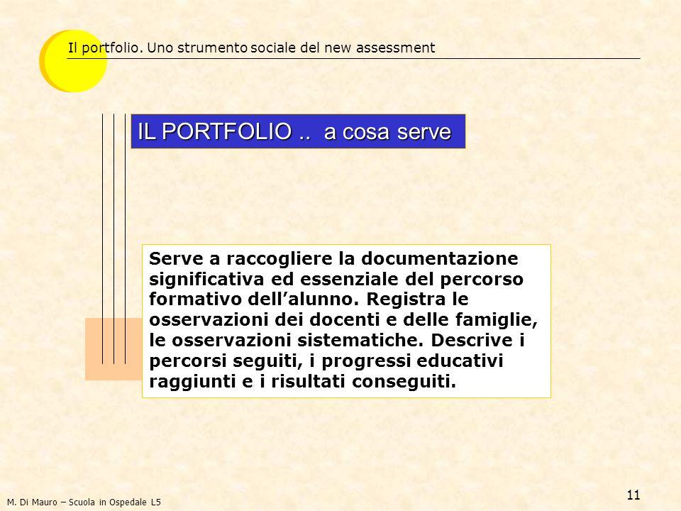 11 Il portfolio. Uno strumento sociale del new assessment IL PORTFOLIO.. a cosa serve Serve a raccogliere la documentazione significativa ed essenzial