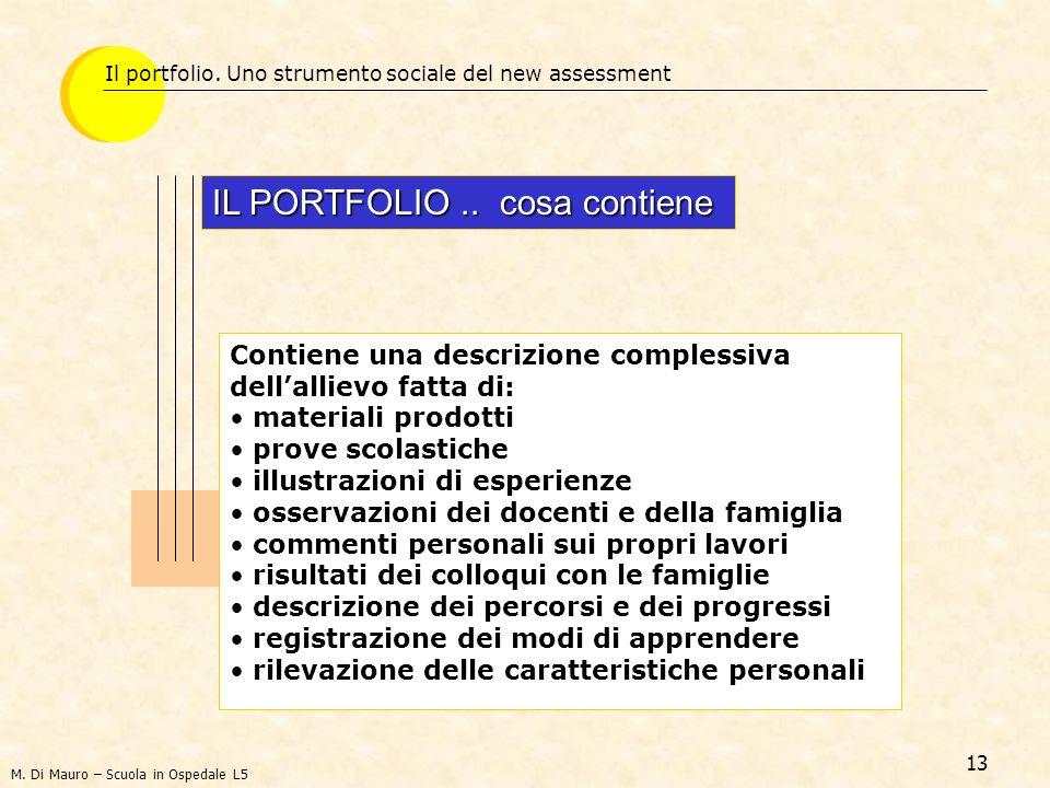 13 Il portfolio. Uno strumento sociale del new assessment IL PORTFOLIO.. cosa contiene Contiene una descrizione complessiva dellallievo fatta di: mate
