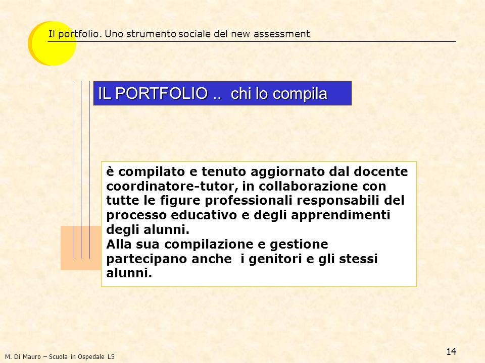 14 Il portfolio. Uno strumento sociale del new assessment IL PORTFOLIO.. chi lo compila è compilato e tenuto aggiornato dal docente coordinatore-tutor