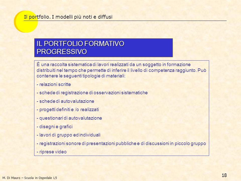 18 Il portfolio. I modelli più noti e diffusi IL PORTFOLIO FORMATIVO PROGRESSIVO È una raccolta sistematica di lavori realizzati da un soggetto in for