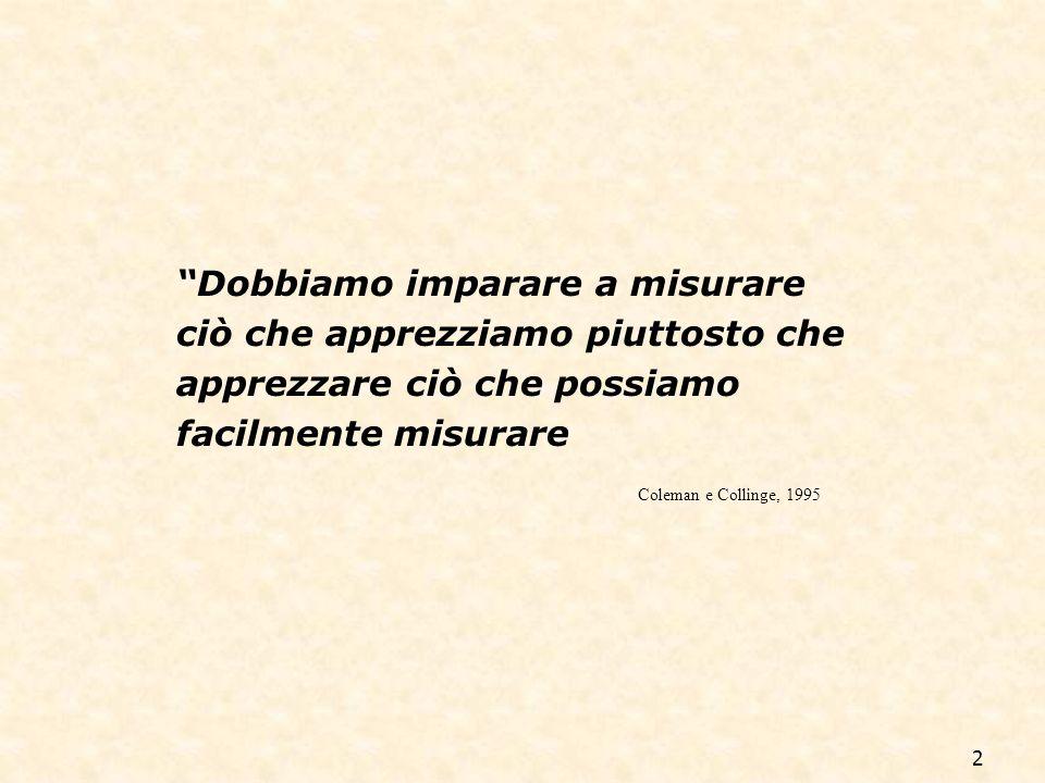 2 Dobbiamo imparare a misurare ciò che apprezziamo piuttosto che apprezzare ciò che possiamo facilmente misurare Coleman e Collinge, 1995