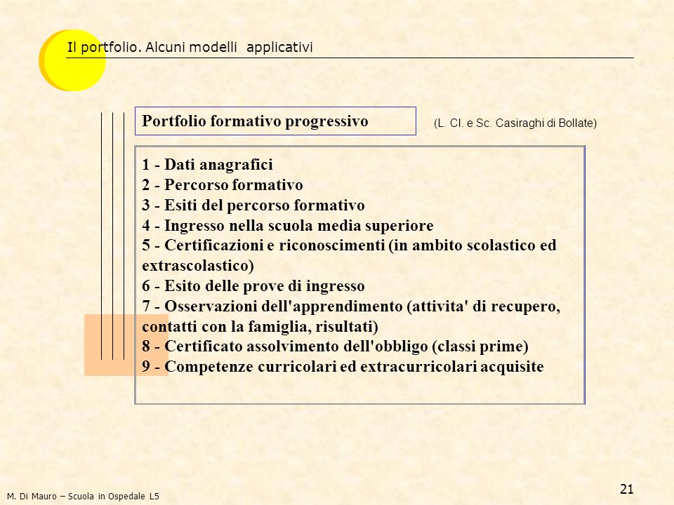 21 Portfolio formativo progressivo (L.Cl. e Sc.