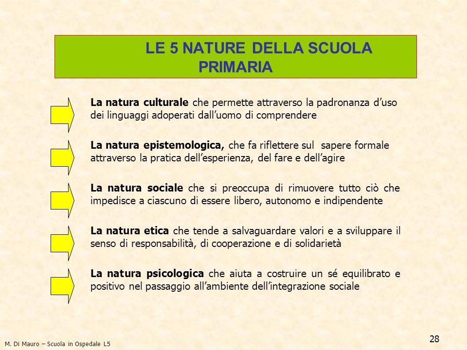 28 La natura culturale che permette attraverso la padronanza duso dei linguaggi adoperati dalluomo di comprendere La natura epistemologica, che fa rif