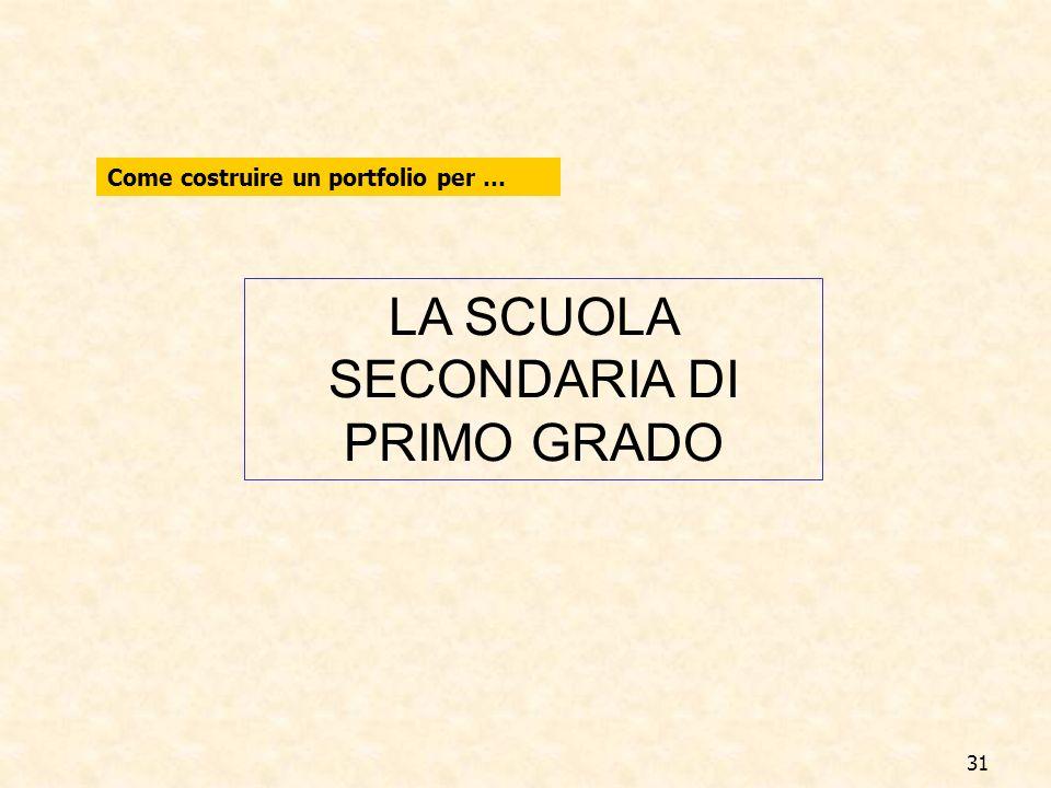 31 LA SCUOLA SECONDARIA DI PRIMO GRADO Come costruire un portfolio per …