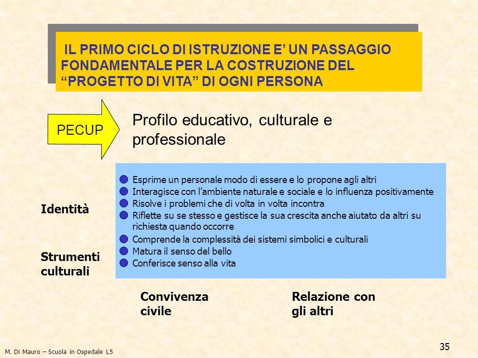 35 Profilo educativo, culturale e professionale Identità Esprime un personale modo di essere e lo propone agli altri IL PRIMO CICLO DI ISTRUZIONE E UN