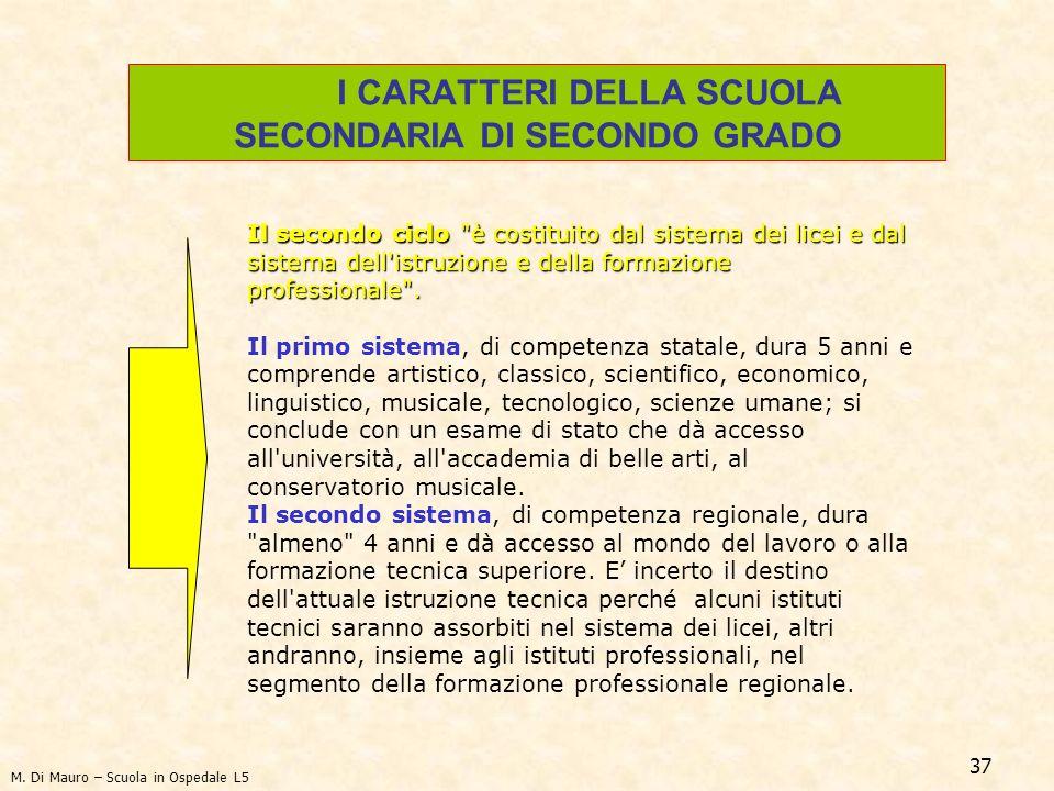 37 I CARATTERI DELLA SCUOLA SECONDARIA DI SECONDO GRADO Il secondo ciclo è costituito dal sistema dei licei e dal sistema dell istruzione e della formazione professionale .