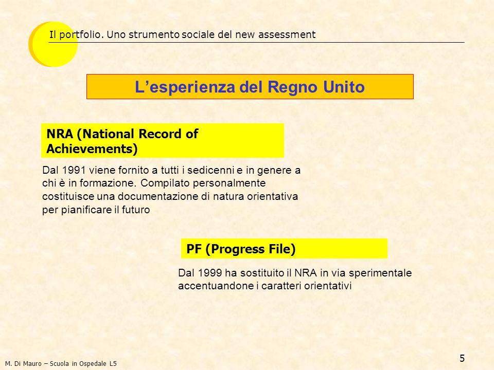 5 Lesperienza del Regno Unito Il portfolio. Uno strumento sociale del new assessment NRA (National Record of Achievements) M. Di Mauro – Scuola in Osp