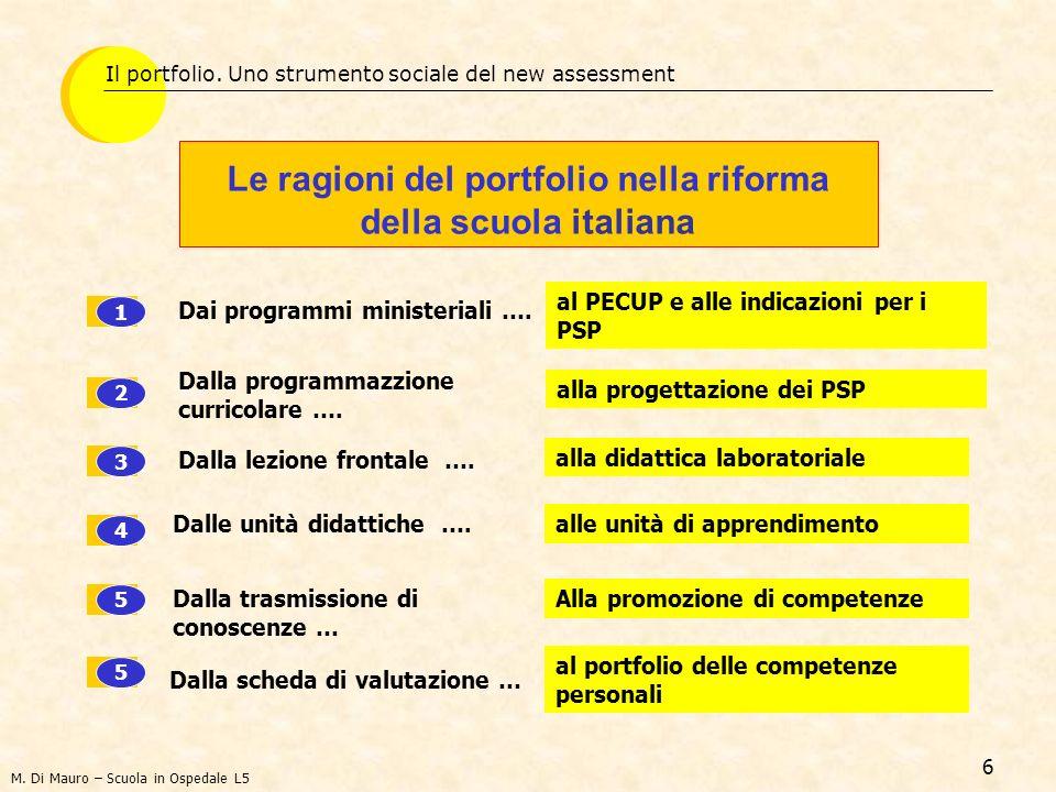 6 Le ragioni del portfolio nella riforma della scuola italiana Il portfolio.