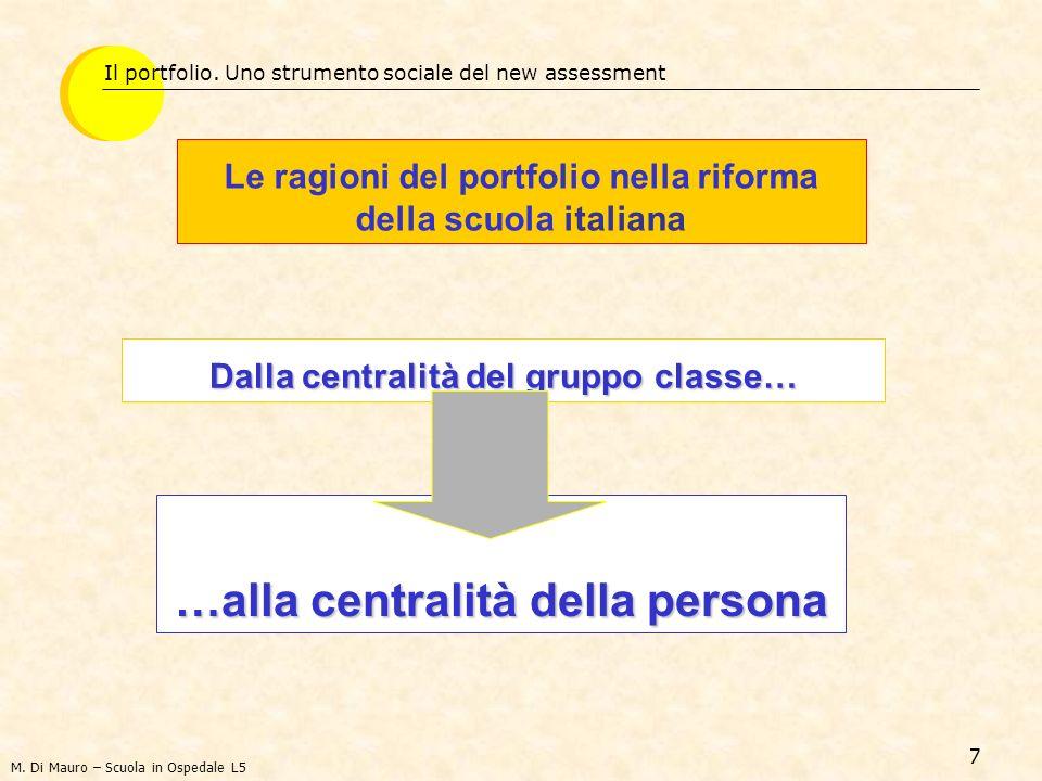 7 Dalla centralità del gruppo classe… Il portfolio. Uno strumento sociale del new assessment …alla centralità della persona Le ragioni del portfolio n