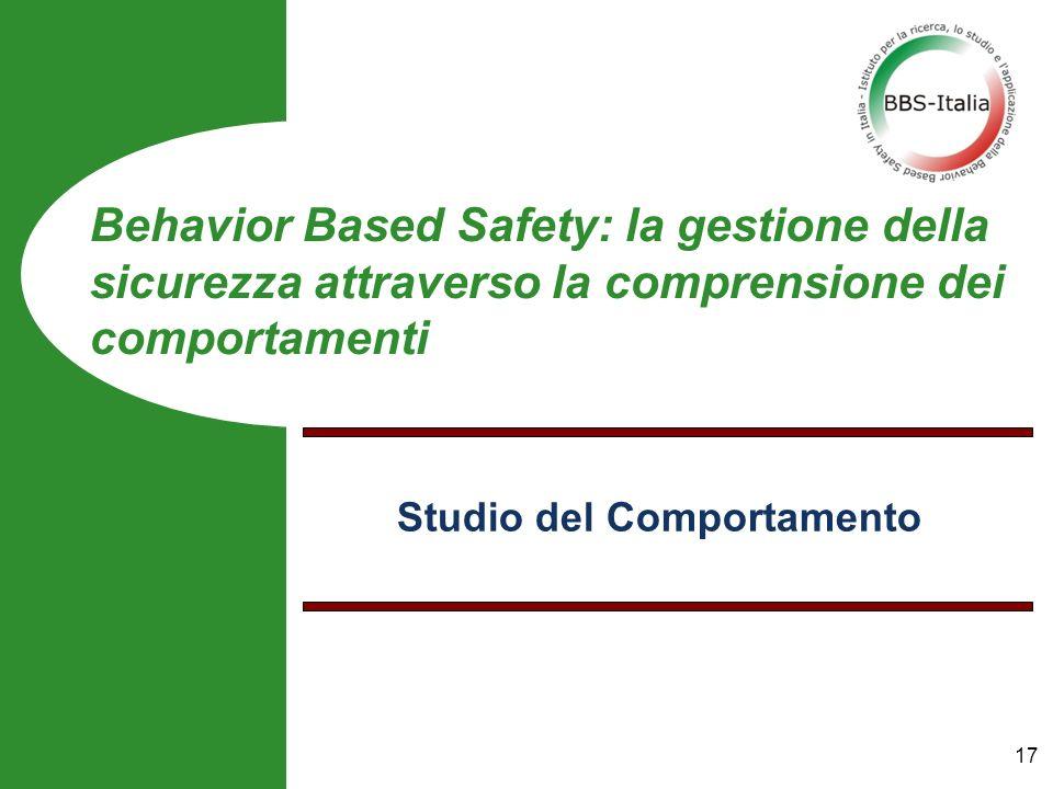 Studio del Comportamento Behavior Based Safety: la gestione della sicurezza attraverso la comprensione dei comportamenti 17