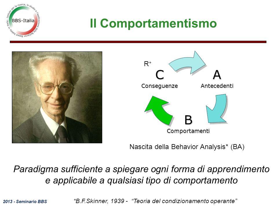 2013 - Seminario BBS 18 Il Comportamentismo *B.F.Skinner, 1939 - Teoria del condizionamento operante Nascita della Behavior Analysis* (BA)AAntecedenti