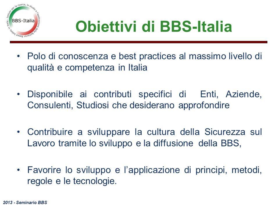 2013 - Seminario BBS Obiettivi di BBS-Italia Polo di conoscenza e best practices al massimo livello di qualità e competenza in Italia Disponibile ai c