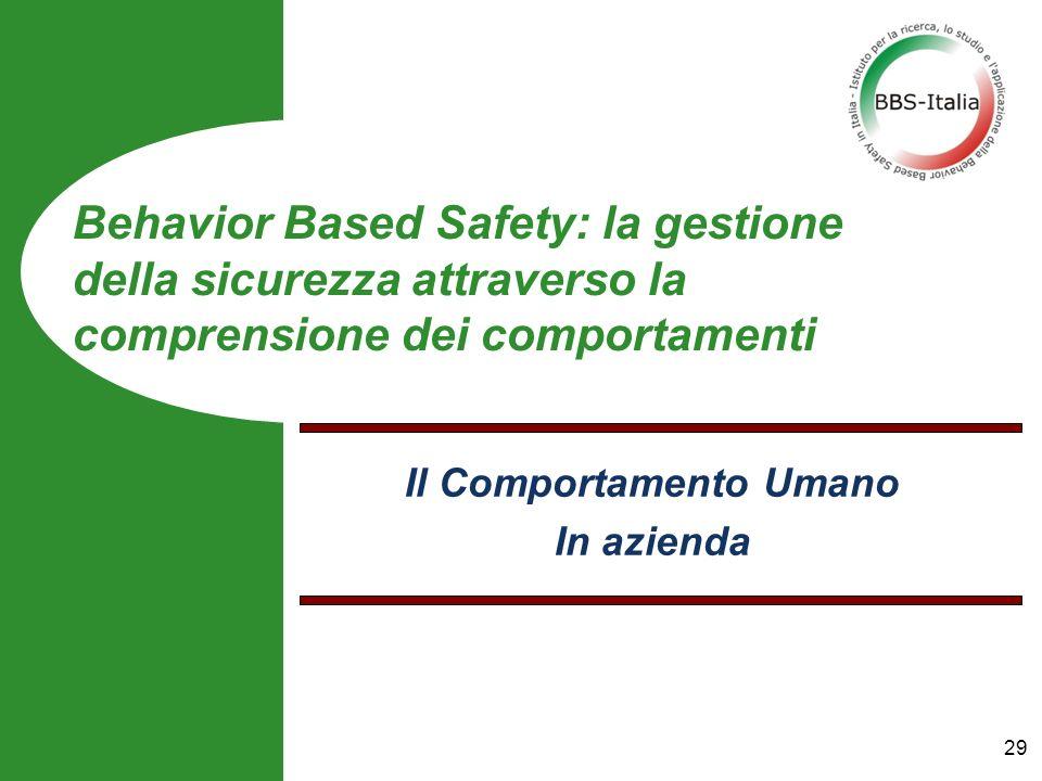 Il Comportamento Umano In azienda Behavior Based Safety: la gestione della sicurezza attraverso la comprensione dei comportamenti 29