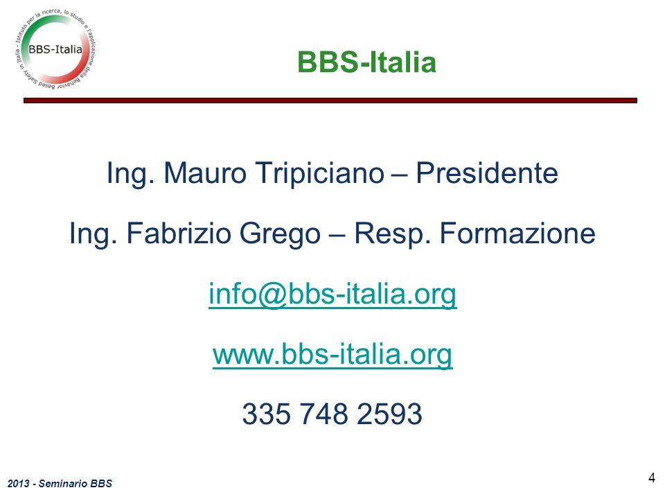 2013 - Seminario BBS BBS-Italia Ing. Mauro Tripiciano – Presidente Ing. Fabrizio Grego – Resp. Formazione info@bbs-italia.org www.bbs-italia.org 335 7