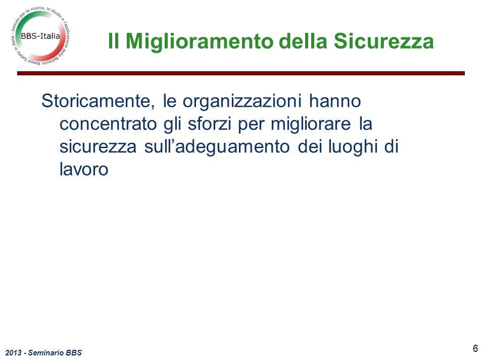 2013 - Seminario BBS Storicamente, le organizzazioni hanno concentrato gli sforzi per migliorare la sicurezza sulladeguamento dei luoghi di lavoro Il
