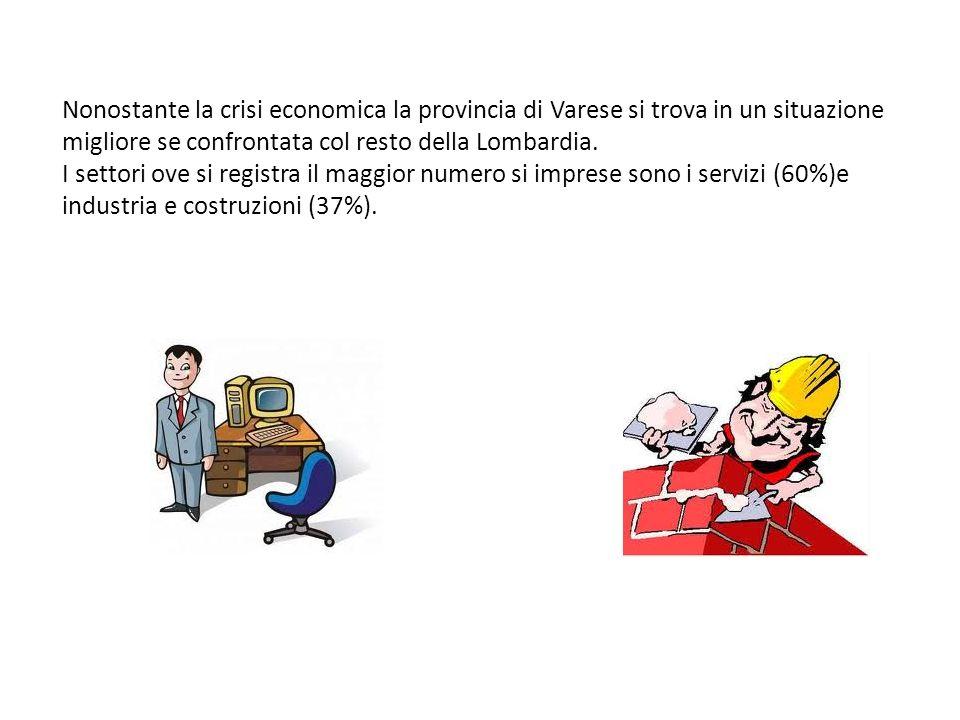 Nonostante la crisi economica la provincia di Varese si trova in un situazione migliore se confrontata col resto della Lombardia. I settori ove si reg