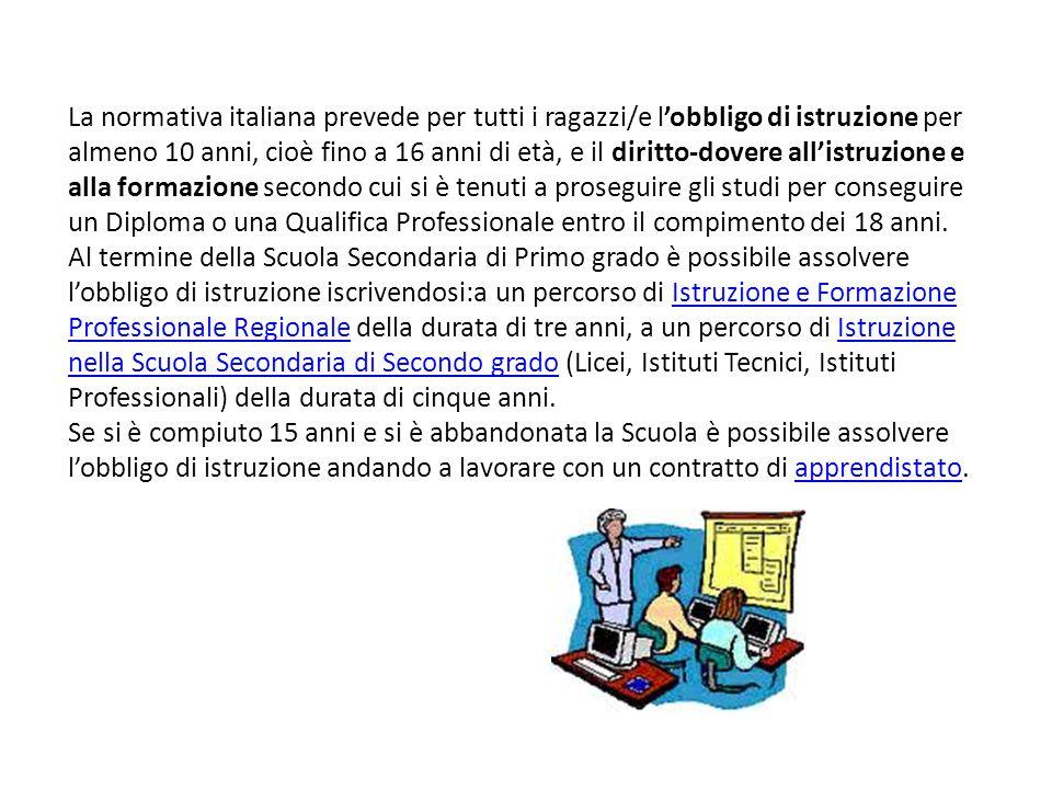 La normativa italiana prevede per tutti i ragazzi/e lobbligo di istruzione per almeno 10 anni, cioè fino a 16 anni di età, e il diritto-dovere allistr